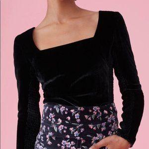 Rebecca Taylor Velvet Smocked Top in Black - 2